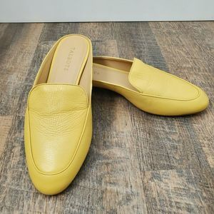 TALBOTS Mules Flats Loafers Yellow Pebbled Leather